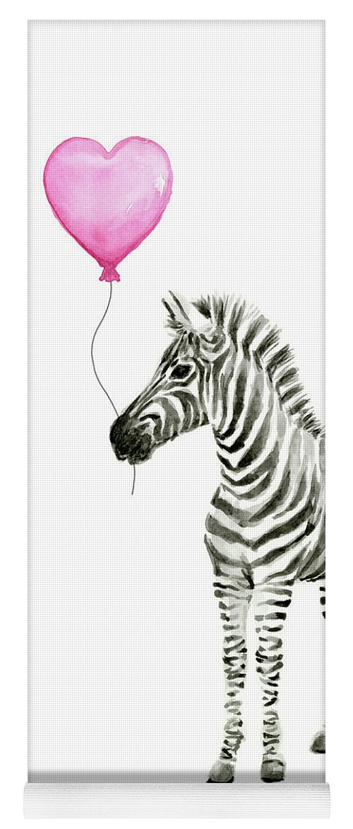 Zebra Yoga Mat featuring the painting Zebra Watercolor Whimsical Animal With Balloon by Olga Shvartsur