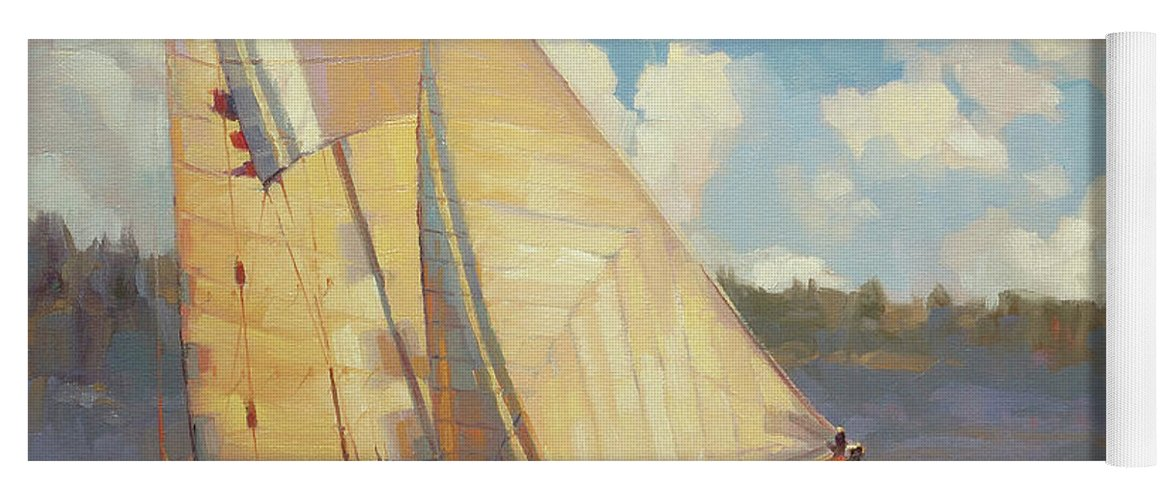 Sailboat Yoga Mat featuring the painting Zephyr by Steve Henderson