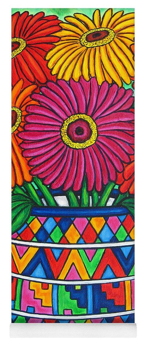 Zinnia Yoga Mat featuring the painting Zinnia Fiesta by Lisa Lorenz
