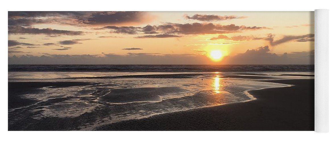 Yoga Mat featuring the photograph Beach Sunset, Blackpool, Uk 09/2017 by Michael Kane