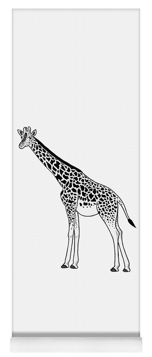 Giraffe Yoga Mat featuring the drawing Giraffe - Ink Illustration by Loren Dowding