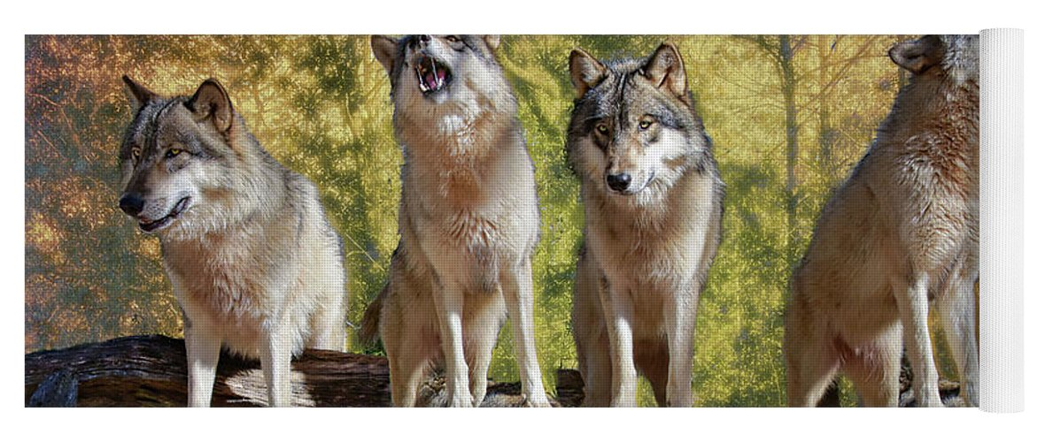 Wolf Yoga Mat featuring the photograph Howling Wolves by Jeannee Gannuch