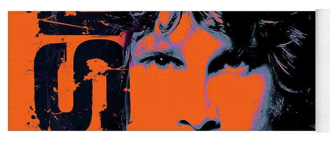 Jim Morrison Yoga Mat featuring the digital art Jim Morrison, The Doors by Mal Bray