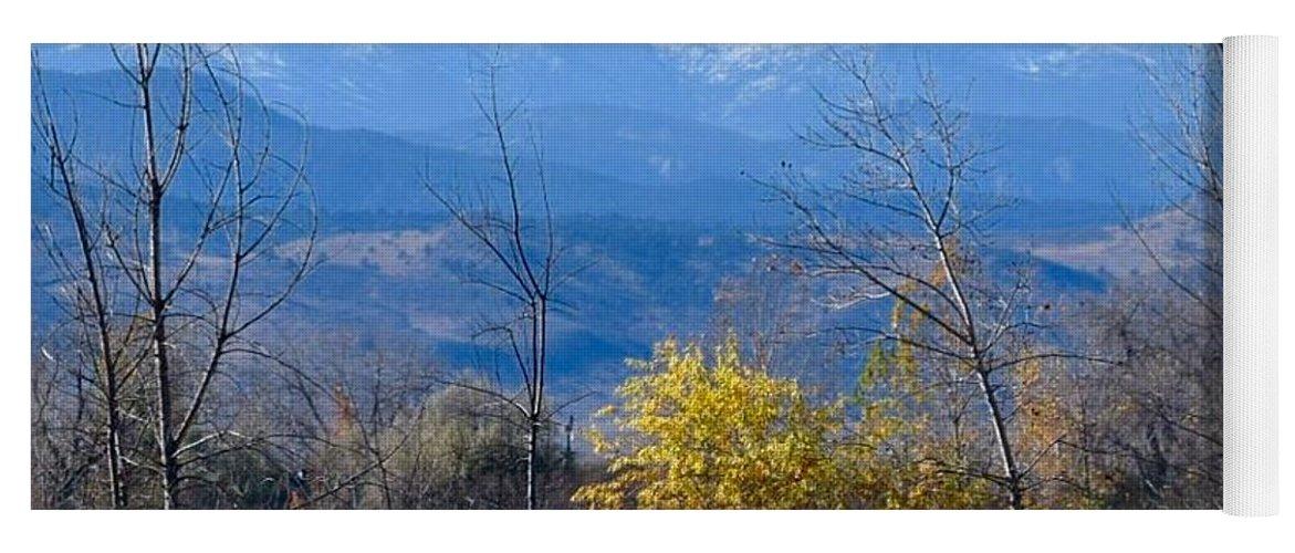 Longs Peak Yoga Mat featuring the photograph Longs Peak In The Fall by Deb Cawley