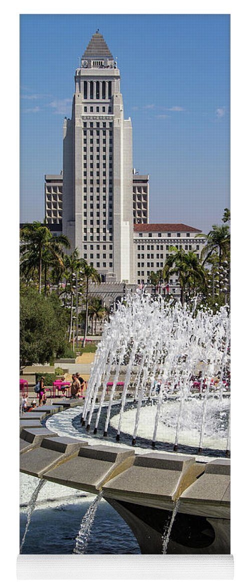 Arthur J. Will Yoga Mat featuring the photograph Los Angeles City Hall And Arthur J. Will Memorial Fountain by Roslyn Wilkins