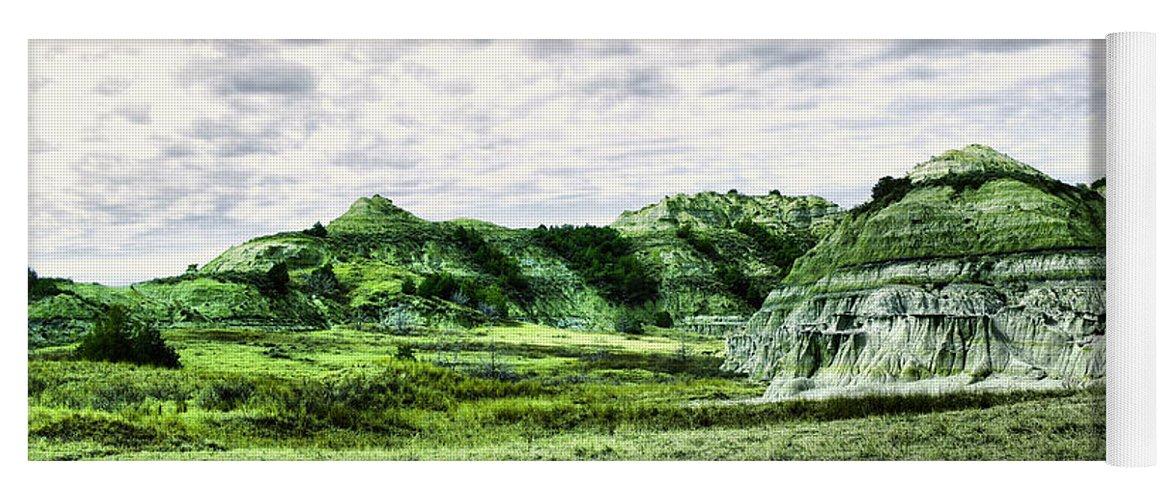 Landscape Yoga Mat featuring the photograph North Dakota Badlands by Jeff Swan