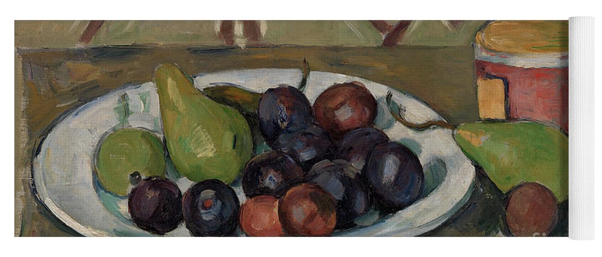 Plum Yoga Mat featuring the painting Plate With Fruit And Pot Of Preserves by Paul Cezanne