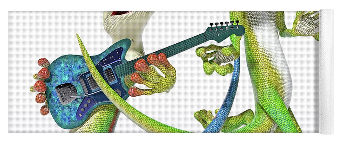 Gecko Yoga Mat featuring the digital art Playing In The Band Geckos by Betsy Knapp