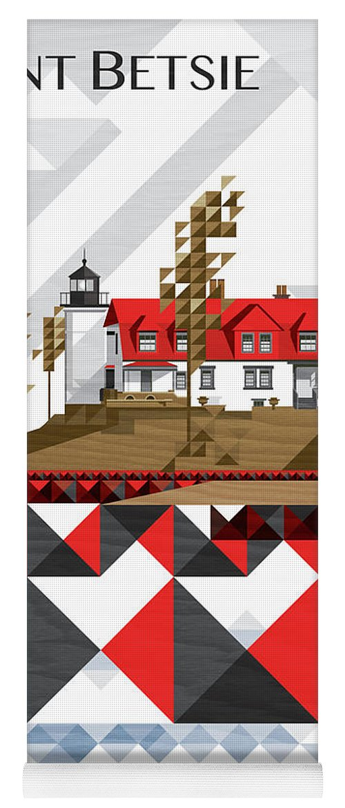 Lighthouse Yoga Mat featuring the digital art Point Betsie-michigan 2018_v4-final by Garth Glazier