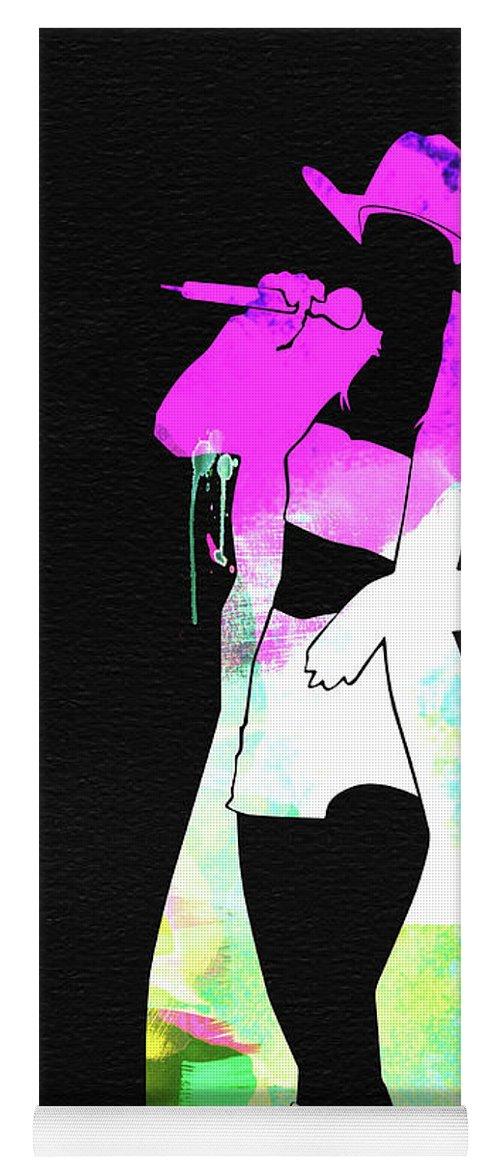 Shania Twain Yoga Mat featuring the mixed media Shania Watercolor by Naxart Studio