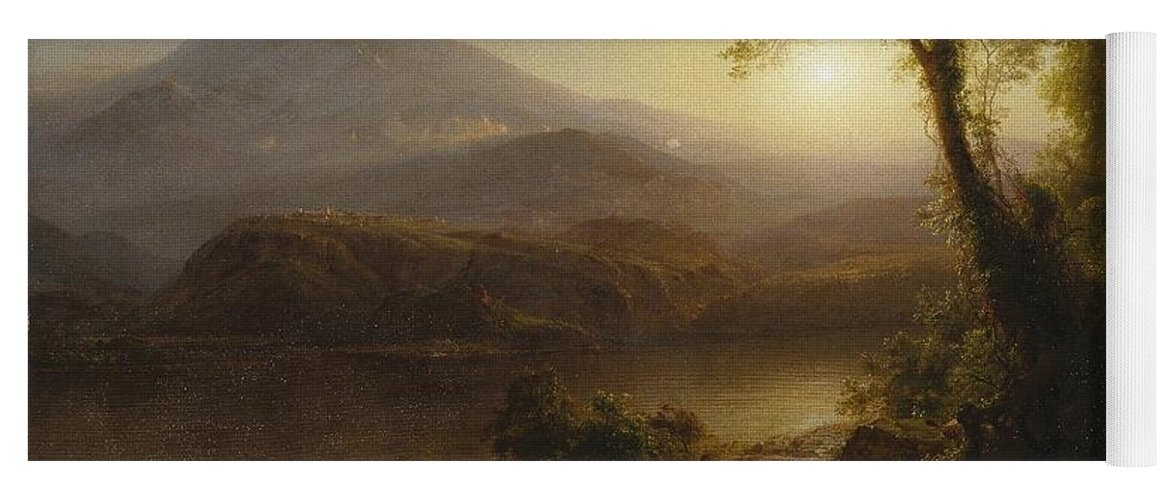 Tropical Scenery Yoga Mat featuring the painting Tropical Scenery by Frederic Edwin Church