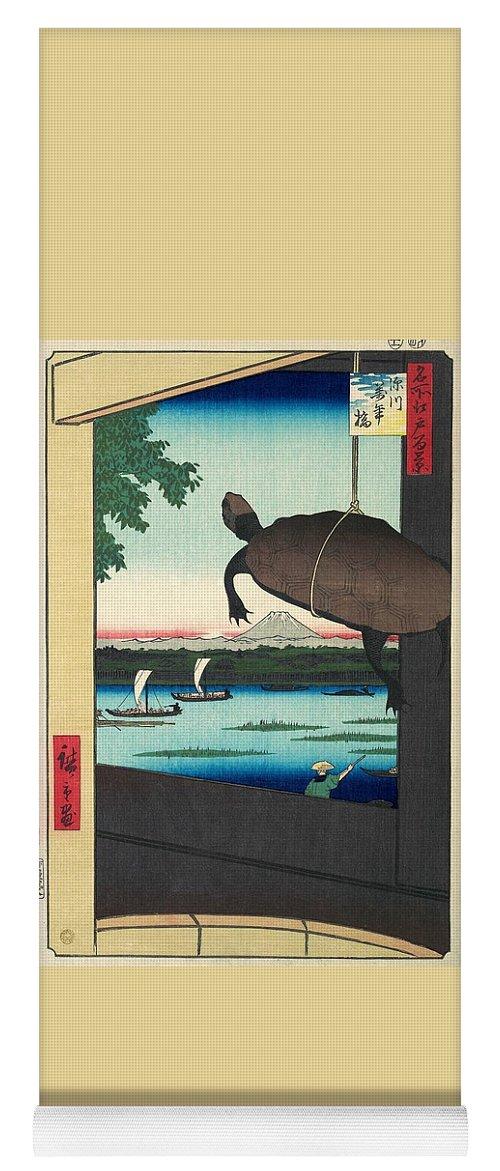Utagawa Hiroshige Yoga Mat featuring the painting 100 Famous Views Of Edo - Fukagawa, Mannen Bridge by Utagawa Hiroshige