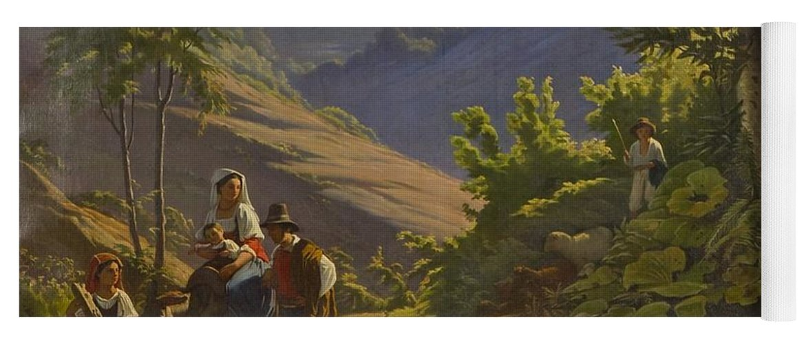 Johan Blackstadius (1816-1898) Yoga Mat featuring the painting Landscape by MotionAge Designs