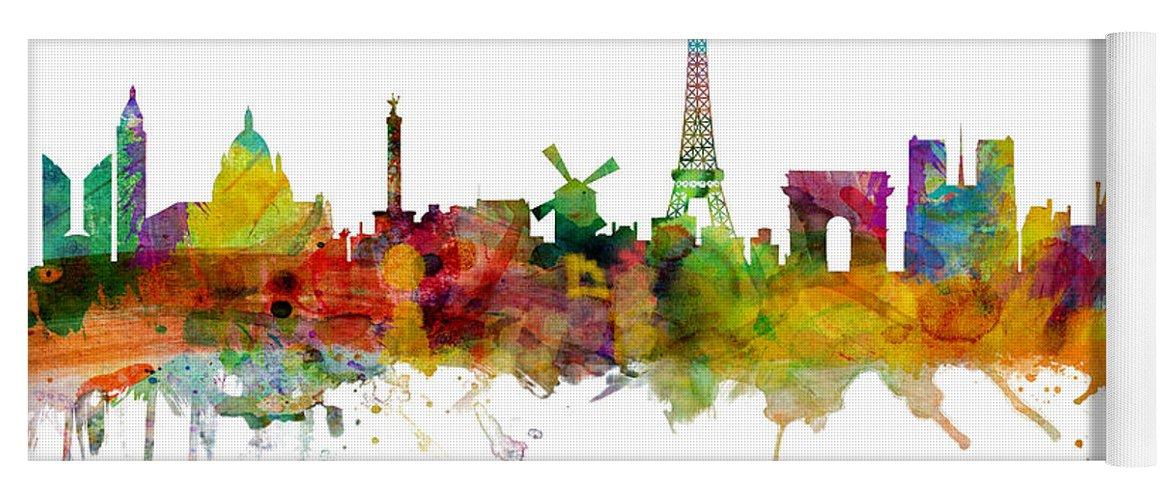 Paris Yoga Mat featuring the digital art Paris France Skyline by Michael Tompsett