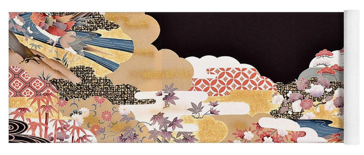 Yoga Mat featuring the digital art Spirit of Japan T65 by Miho Kanamori