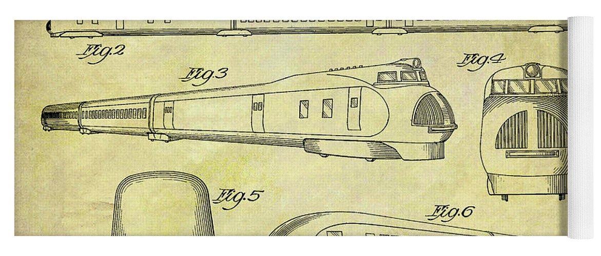 1935 Union Pacific Train Patent Yoga Mat featuring the drawing 1935 Union Pacific Train Patent by Dan Sproul