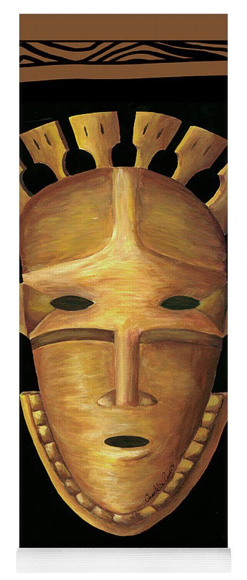 Africa Yoga Mat featuring the painting African Mask IIi 2 by Chariklia Zarris