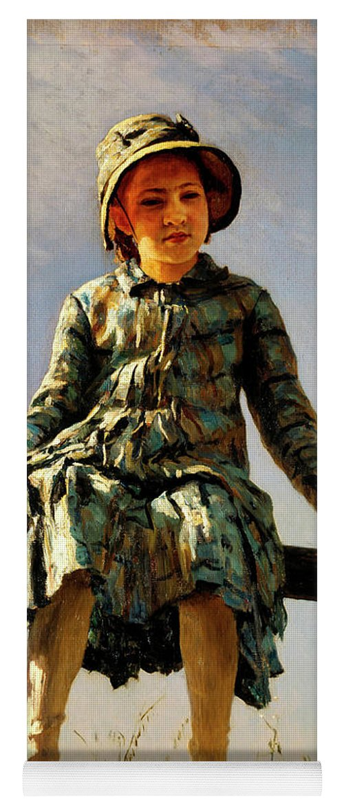Dragonfly Yoga Mat featuring the painting Dragonfly, Painter's Daughter Portrait by Ilya Repin