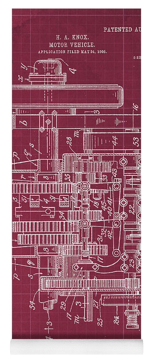 Yoga Mat featuring the drawing Motor Vehicle Patent Colored Vintage Art Print Year 1905 Blueprint 21 by Drawspots Illustrations