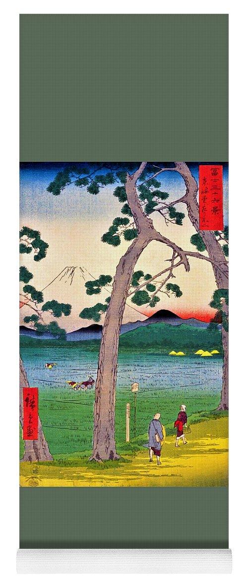 Utagawa Hiroshige Yoga Mat featuring the painting 36 Views Of Mt.fuji - Tokaido Left Fuji by Utagawa Hiroshige