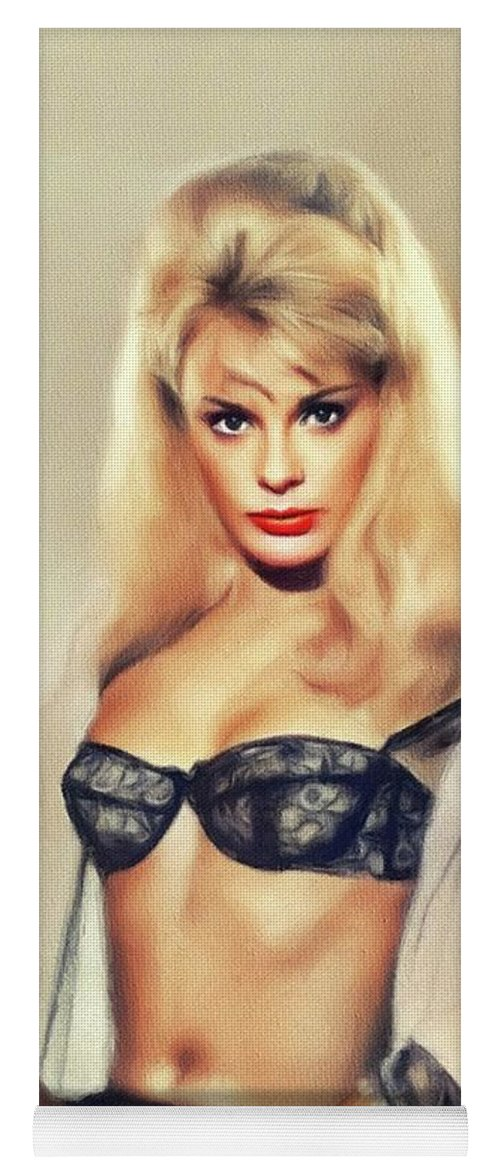 Elke Yoga Mat featuring the painting Elke Sommer, Vintage Actress by Esoterica Art Agency