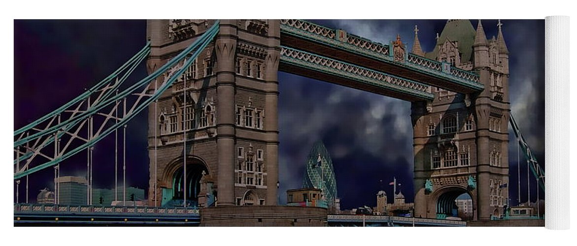 Architecture Yoga Mat featuring the photograph London Tower Bridge by Anthony Dezenzio