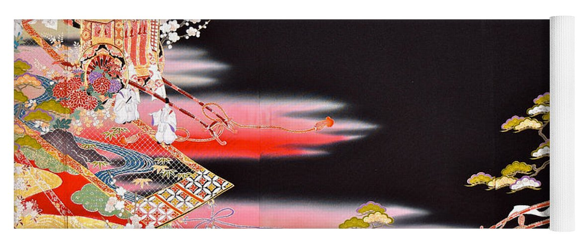 Yoga Mat featuring the tapestry - textile Spirit of Japan T81 by Miho Kanamori