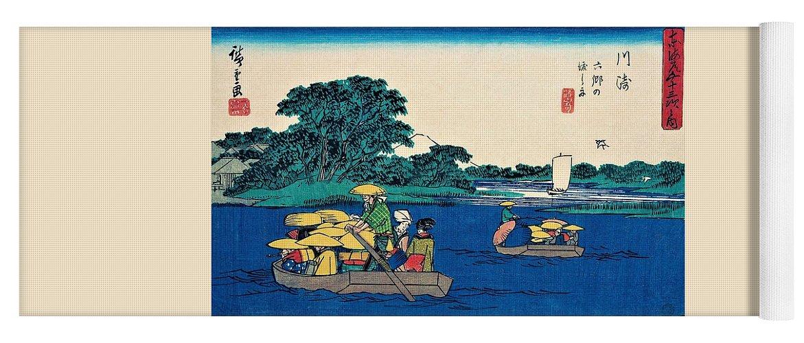 Utagawa Hiroshige Yoga Mat featuring the painting 53 Stations Of The Tokaido - Kawasaki, Passage Boat Of Rokugo by Utagawa Hiroshige