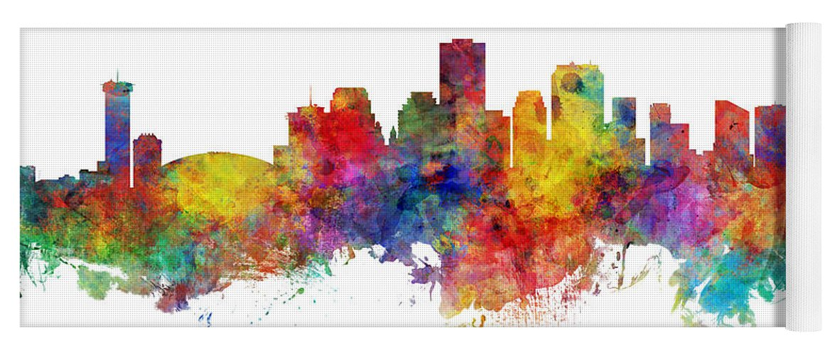 New Orleans Yoga Mat featuring the digital art New Orleans Louisiana Skyline by Michael Tompsett