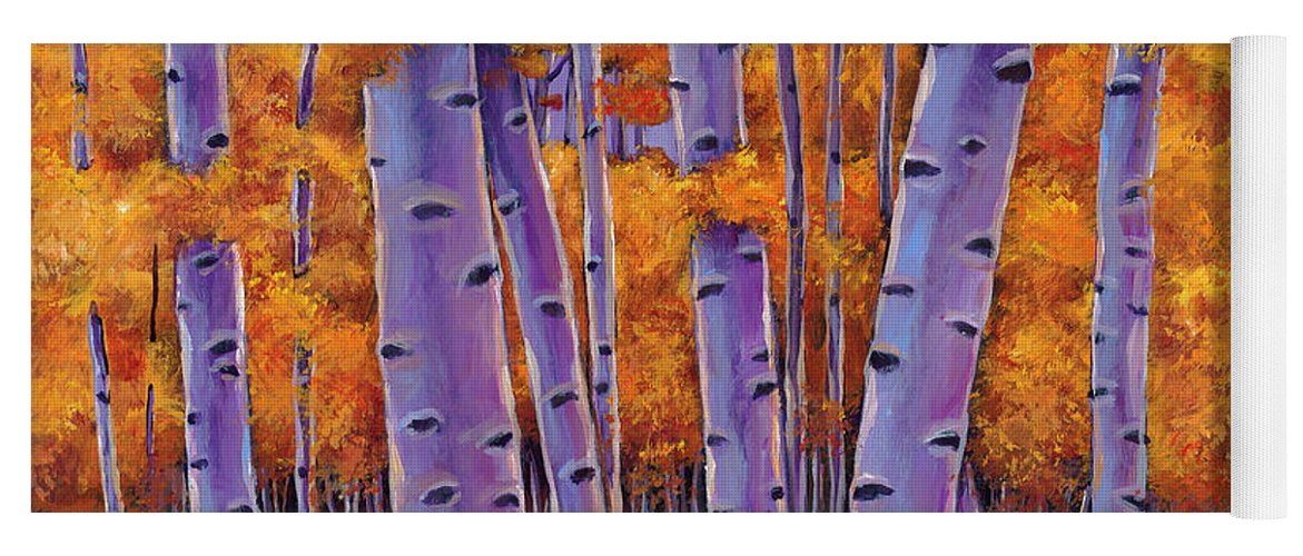 Aspen Trees Yoga Mat featuring the painting A Chance Encounter by Johnathan Harris