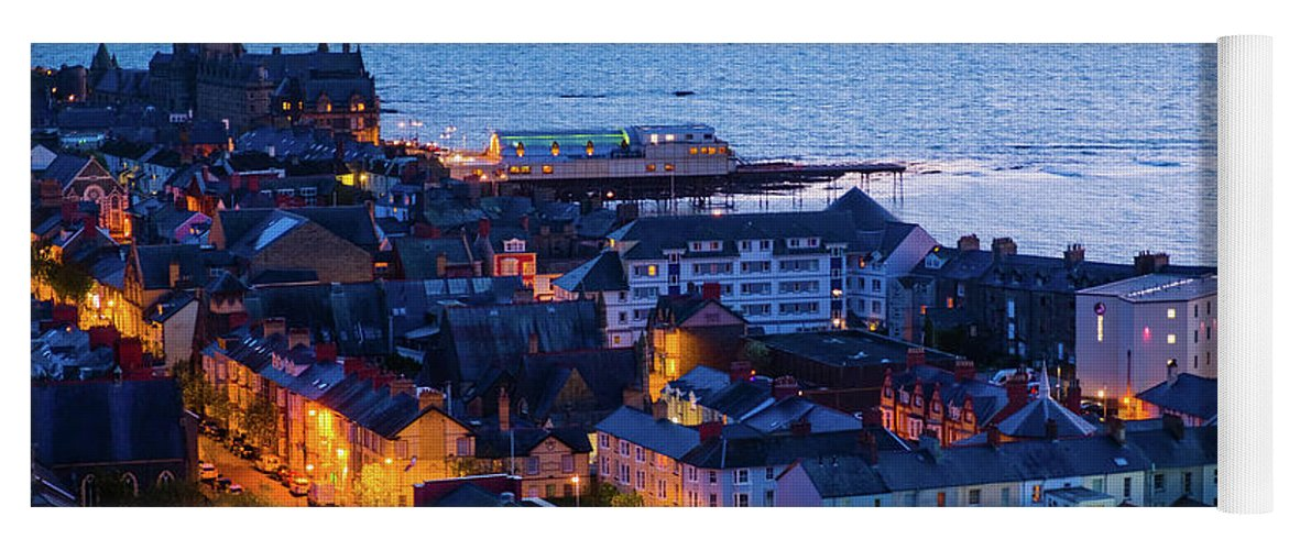 Aberystwyth Yoga Mat featuring the photograph Aberystwyth At Night by Keith Morris