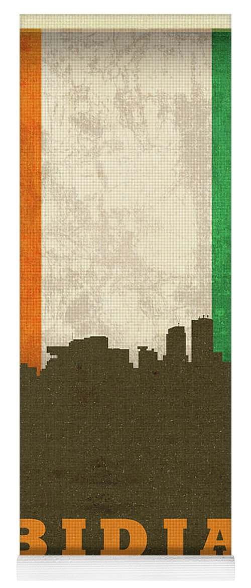 Abidjan Yoga Mat featuring the mixed media Abidjan Ivory Coast World City Flag Skyline by Design Turnpike