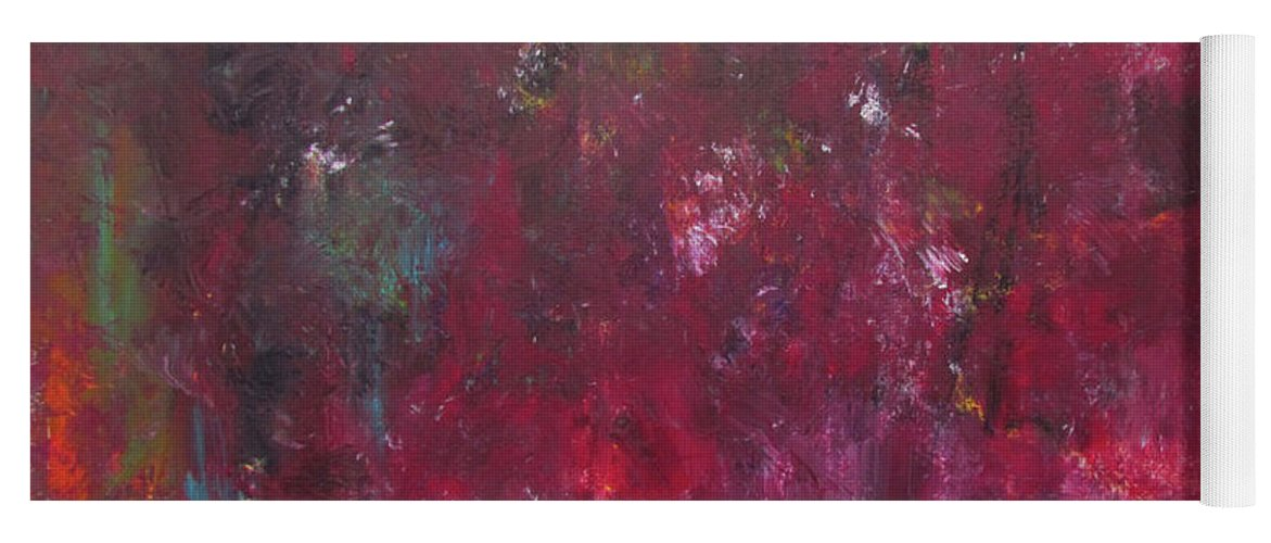 Rust Red Yoga Mat featuring the painting Abstract Painting Rust Red by Patricia Piotrak