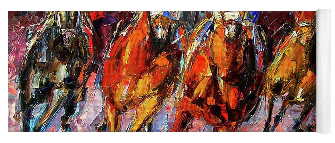 Horse Race Yoga Mat featuring the painting Adrenalin by Debra Hurd