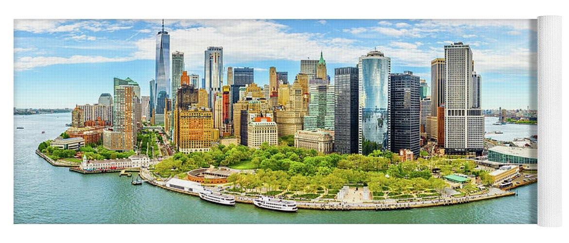 New York Yoga Mat featuring the photograph Aerial Panorama Of Downtown New York Skyline by Mihai Andritoiu