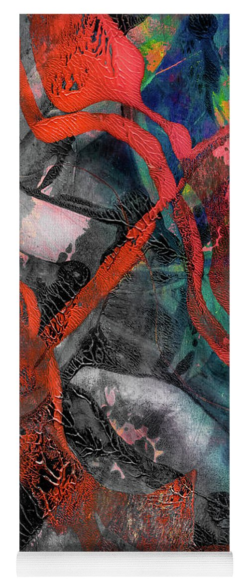 Abstract Yoga Mat featuring the mixed media Alternate Reality by Laura L Leatherwood