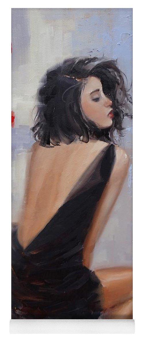 Beautiful Woman Yoga Mat featuring the painting Anticipation by Laura Lee Zanghetti