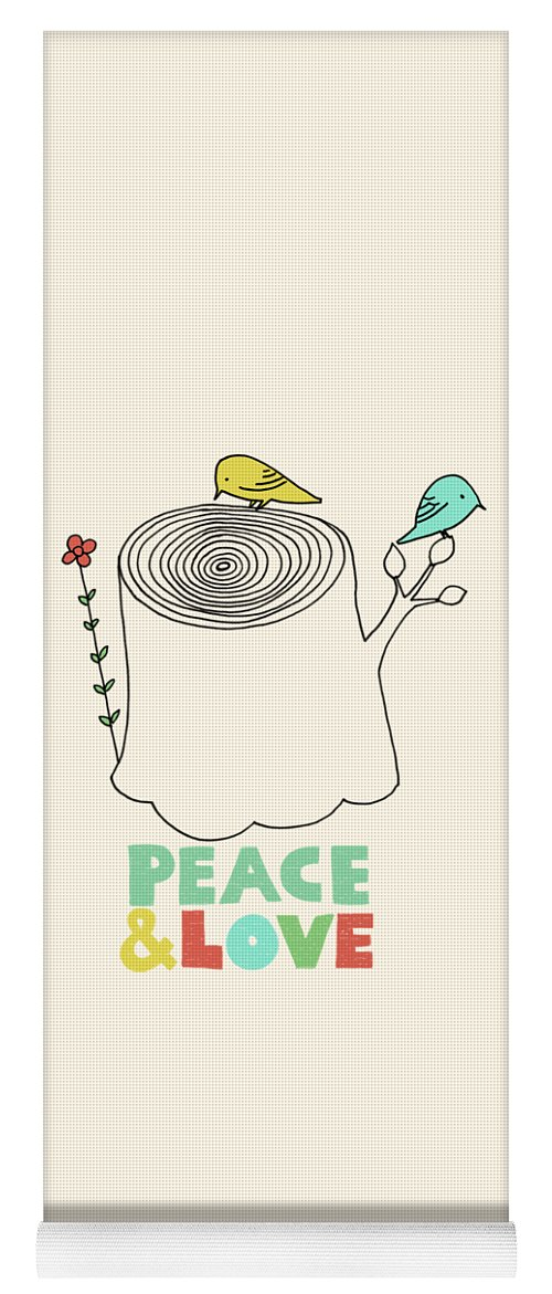 Birds Yoga Mat featuring the drawing Peace and Love by Eric Fan