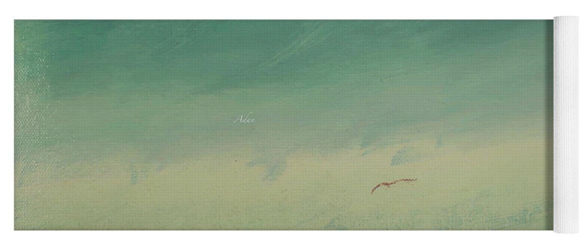 Minimalist Art Yoga Mat featuring the painting Solo Flight Blue Sky by Felipe Adan Lerma