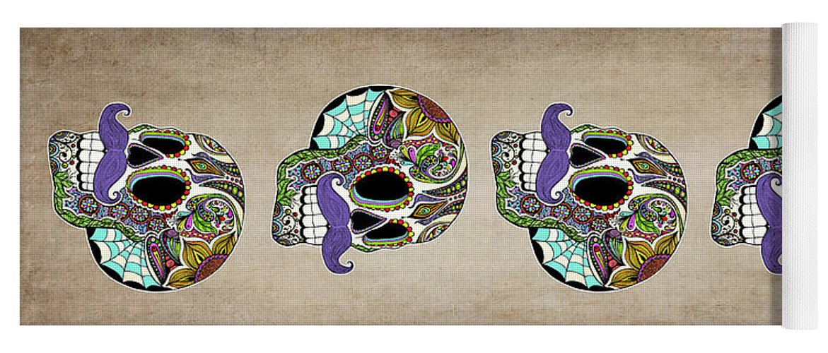 Vintage Yoga Mat featuring the digital art Mustache Sugar Skull Vintage Style by Tammy Wetzel