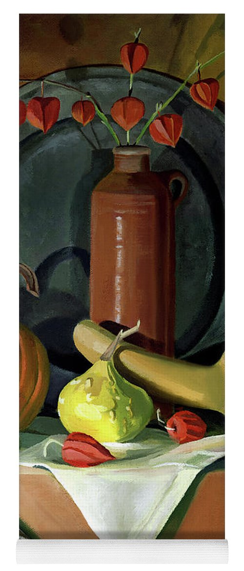 Still Life Yoga Mat featuring the painting Autumn Still Life by Nancy Griswold