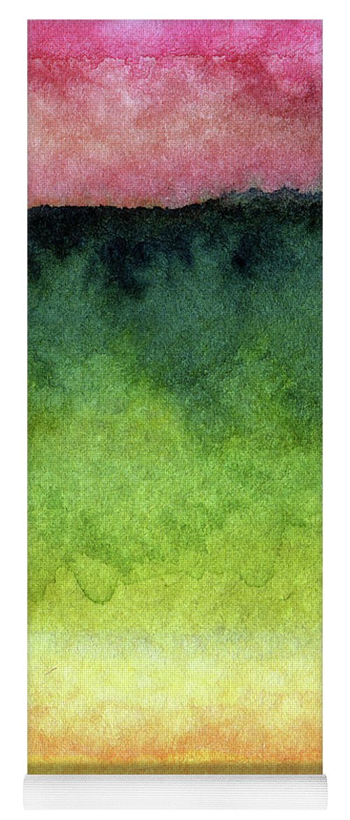 Abstract Landscape Yoga Mat featuring the painting Awakened Too by Linda Woods