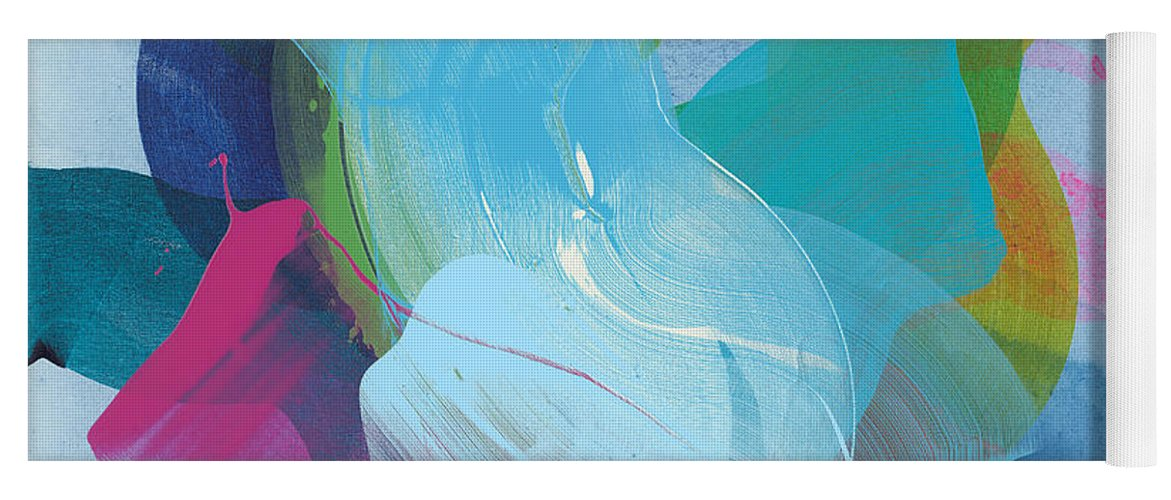 Abstract Yoga Mat featuring the painting Away A While by Claire Desjardins