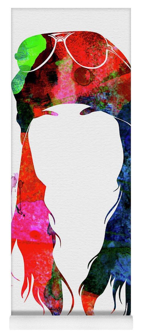 Axl Rose Yoga Mat featuring the mixed media Axl Rose Watercolor by Naxart Studio