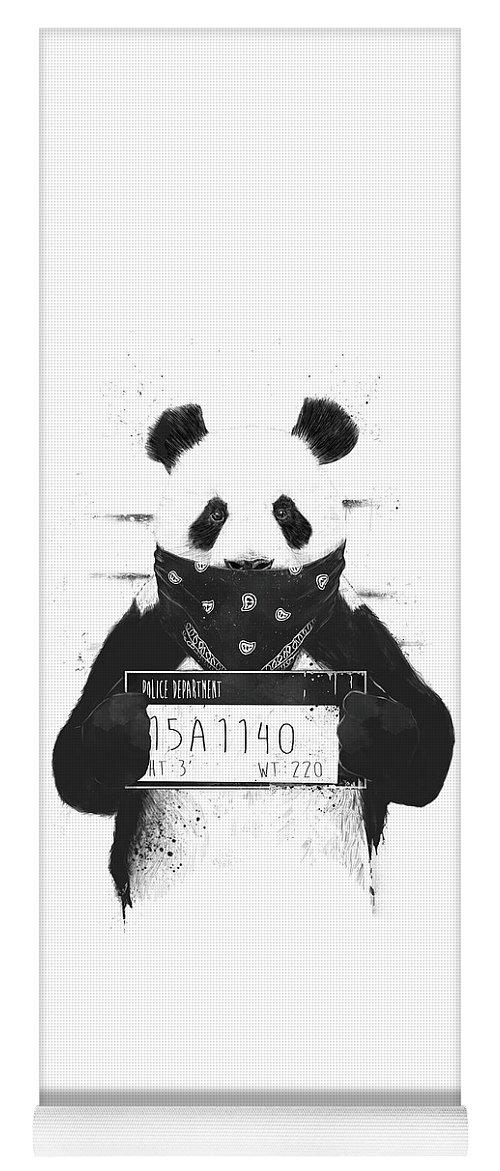 Panda Yoga Mat featuring the drawing Bad panda by Balazs Solti