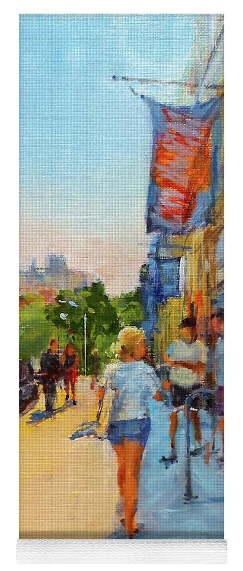 New York Yoga Mat featuring the painting Banners And Shadows by Peter Salwen