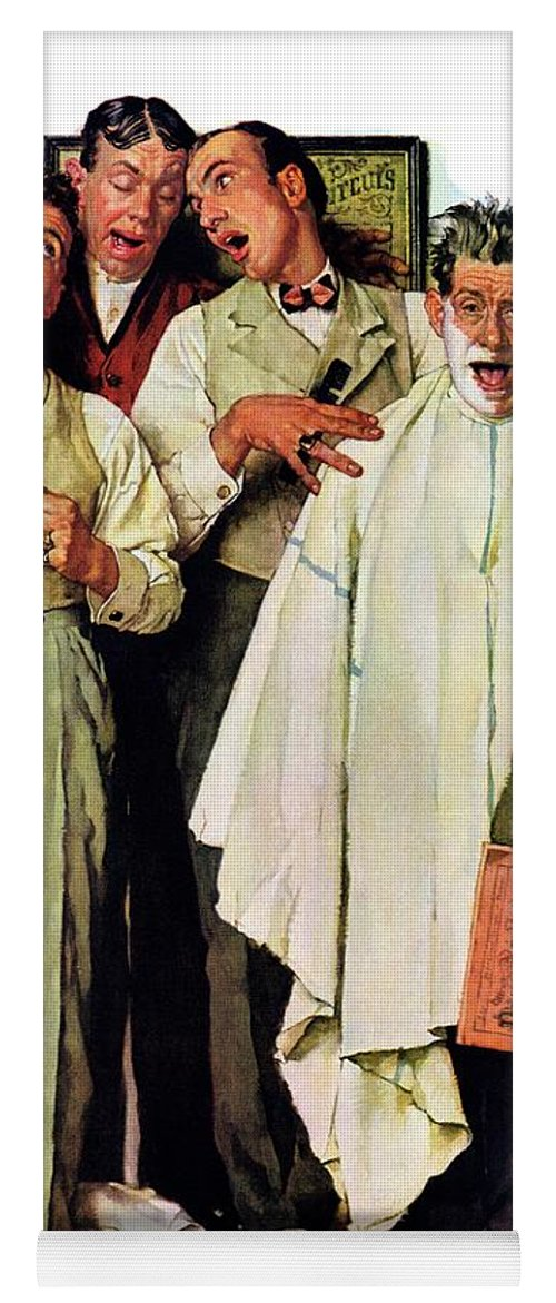 Barbers Yoga Mat featuring the drawing Barbershop Quartet by Norman Rockwell