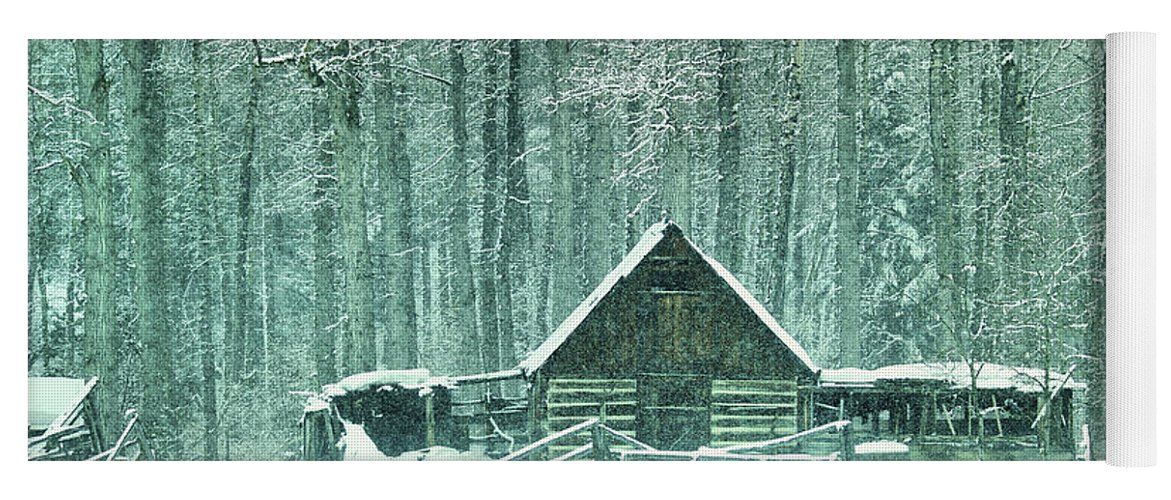 Barn Yoga Mat featuring the photograph Barn In Snowfall by Jeff Swan
