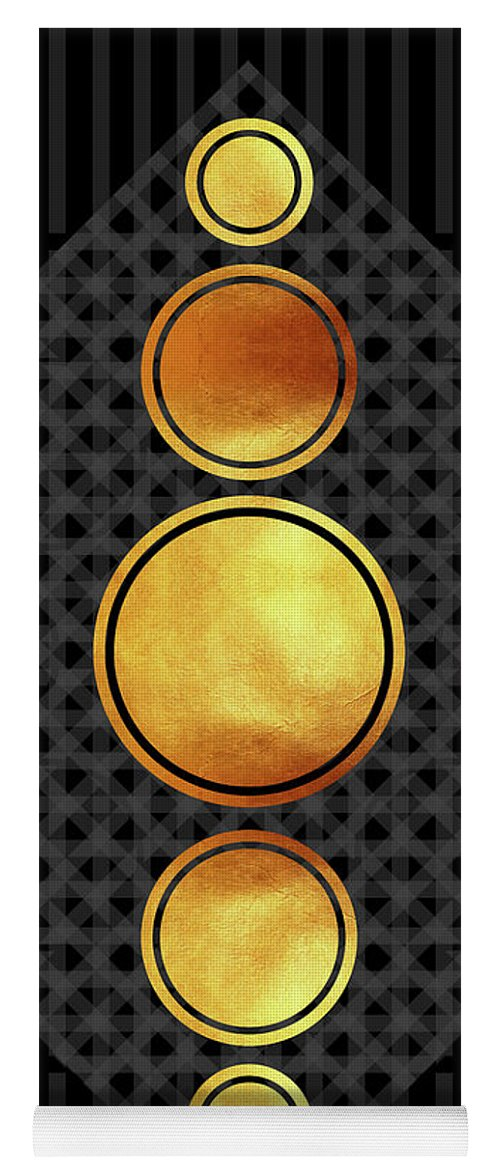 Modern Abstract Yoga Mat featuring the mixed media Black And Gold Abstract - Modern Geometric Abstract - Pattern Design - Art Deco Abstract by Studio Grafiikka