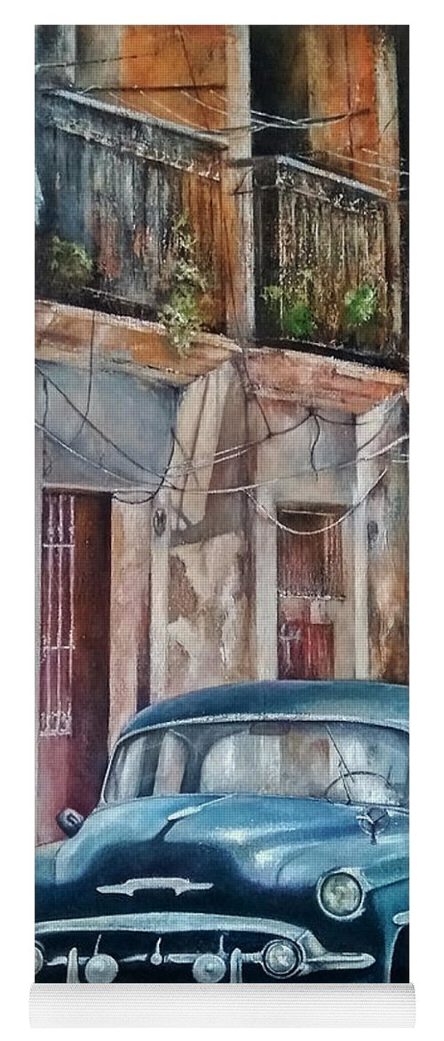 Car Yoga Mat featuring the painting Blue car-Old Havana by Tomas Castano